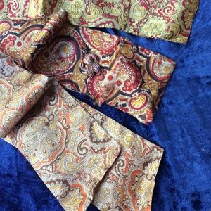 Three Vintage 1970 Paisley Long Quality Scarves